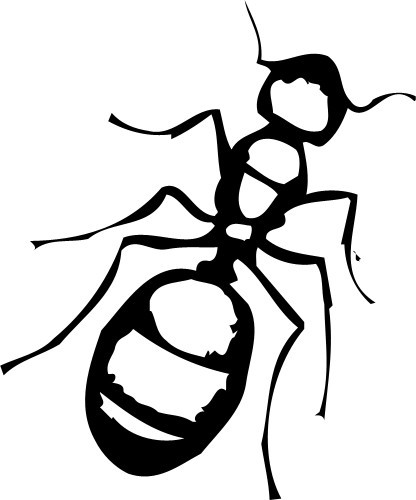 Awesome black-line ant with white insides tattoo design