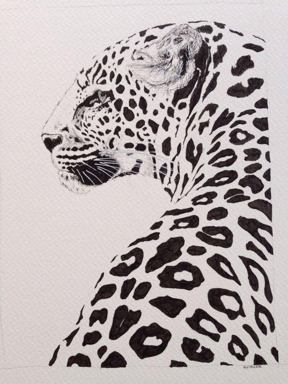 Awesome black-spotted jaguar turning its back tattoo design