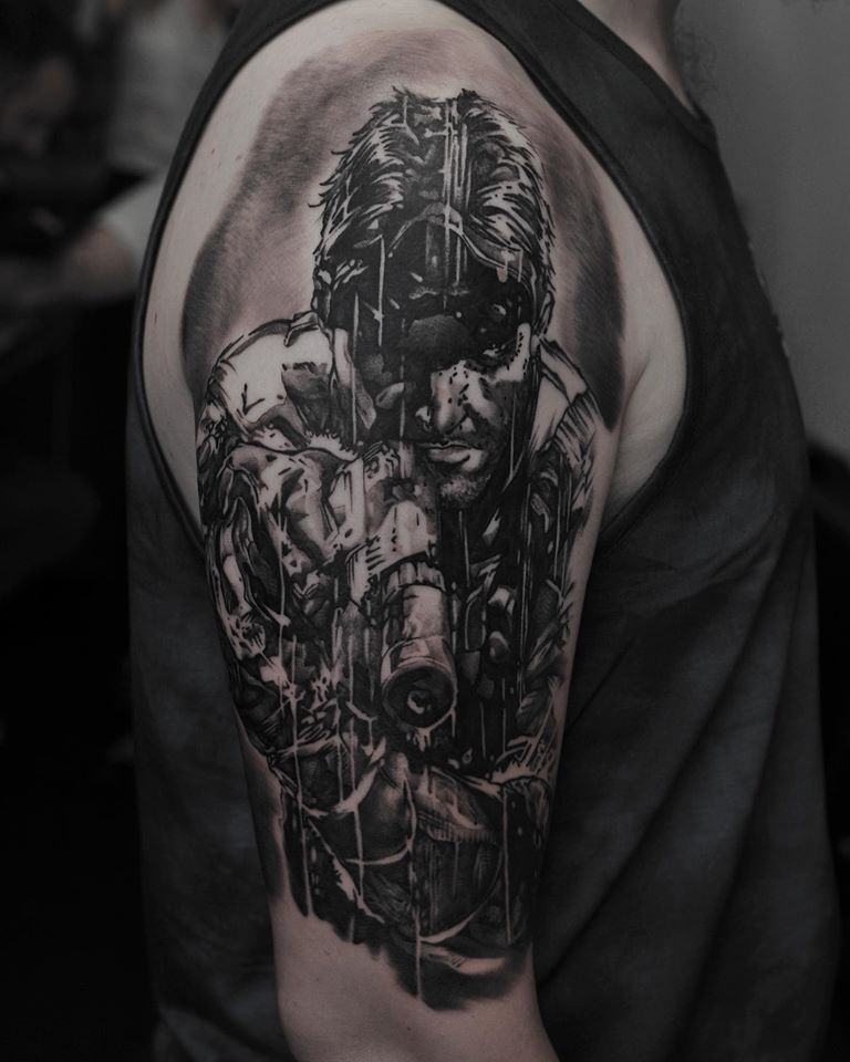 Awesome black and white splinter cell tattoo theme tattoo