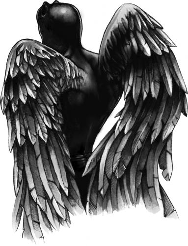 Awesome black demon with angel wings from back tattoo design