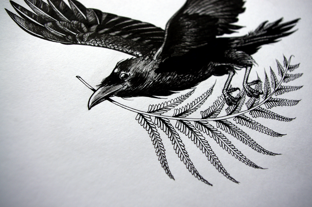 Awesome black raven flying with leaved branch in a beak tattoo design