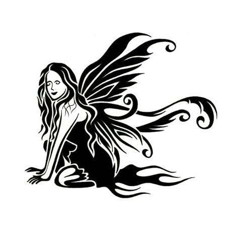 Awesome black tribal fairy tattoo design
