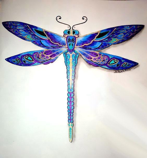 awesome blue and purple dragonfly tattoo design. Black Bedroom Furniture Sets. Home Design Ideas