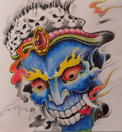 Awesome blue-skin devil with fire eyes and gem decorations tattoo design