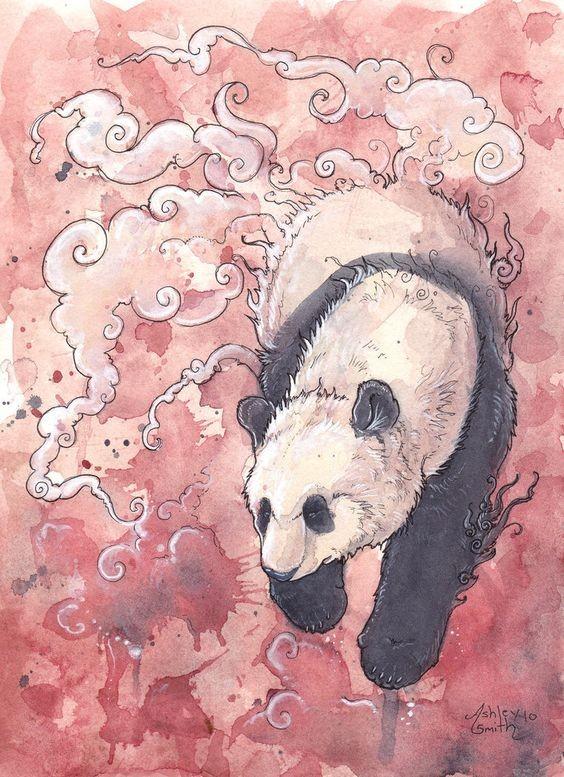 Awesome calm panda walkng in white smoke tattoo design