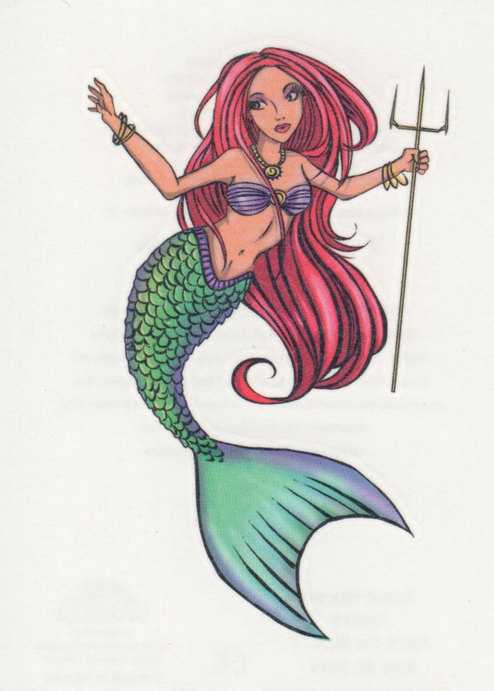 Awesome cartoon red-haired mermaid with little trident tattoo design