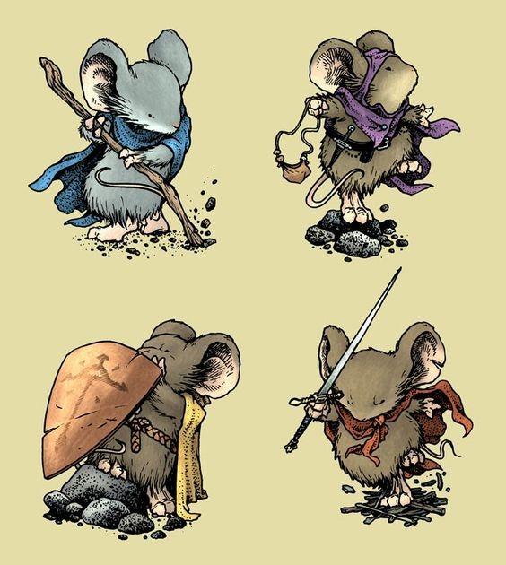 Awesome cartoon rodent warriors tattoo design