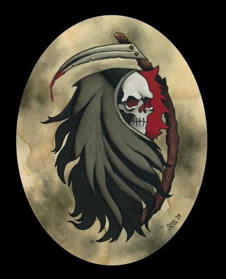Awesome colored death portrait with a scythe tattoo design