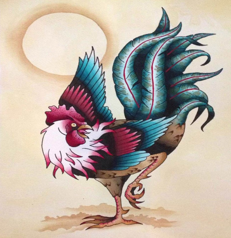 Awesome colored rooster and shining sun tattoo design