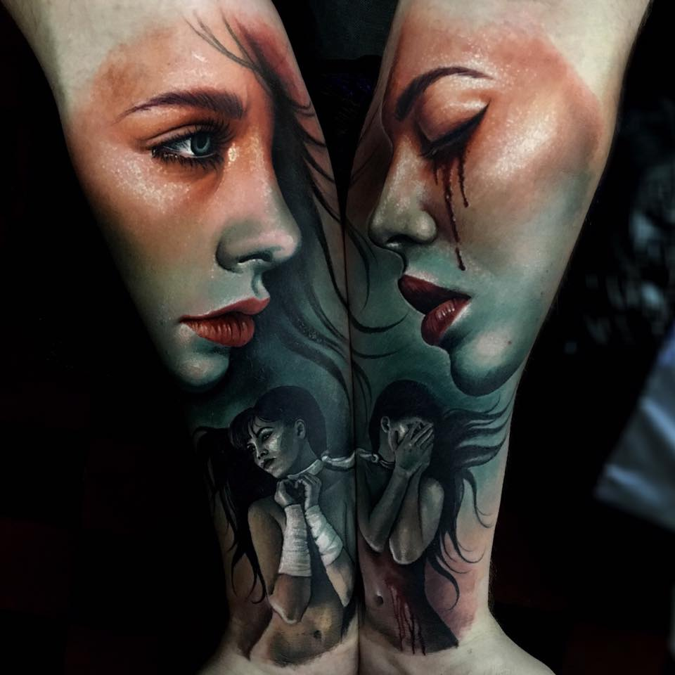Awesome colorful Double forearm with two women