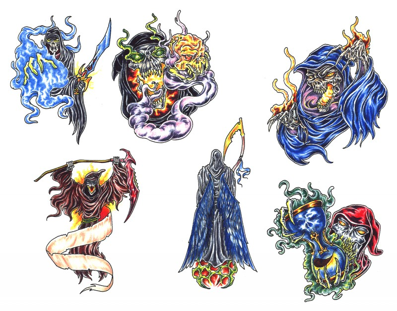 Awesome colorful death in different situations tattoo design