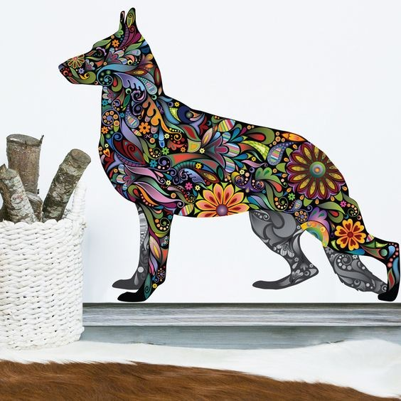 Awesome colorful floral-patterned german shepherd tattoo design