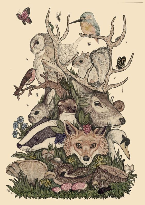 Awesome colorful forest animal pile tattoo design