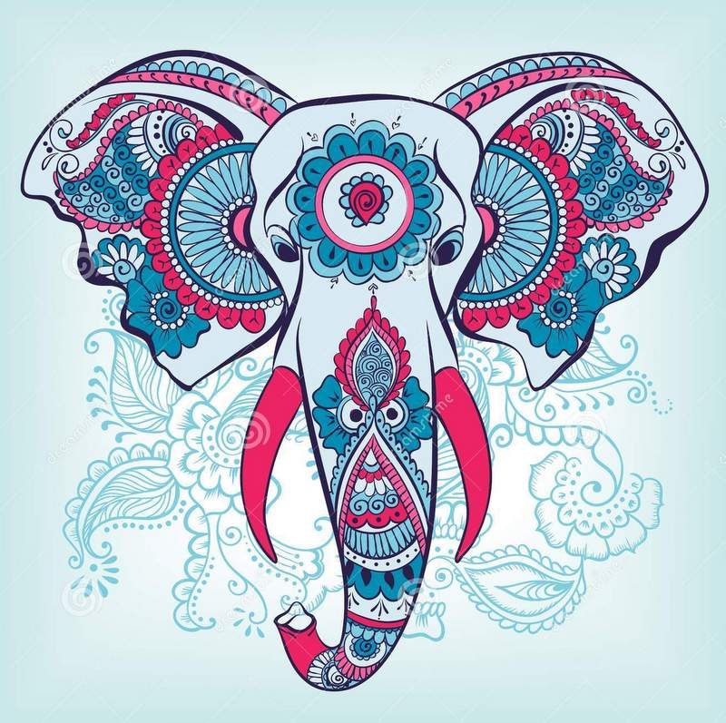 Awesome colorful indian elephant head on blue batterned background tattoo design