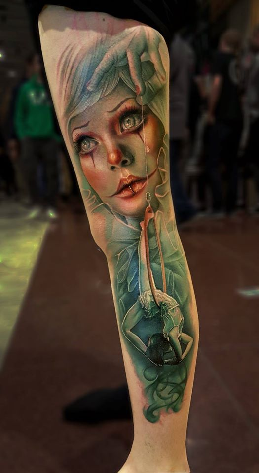 Awesome colorful realistic circus theme tattoo