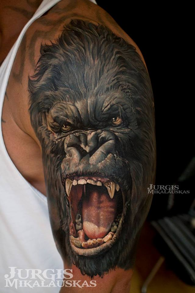 Awesome colorful realistic gorrila tattoo on shoulder