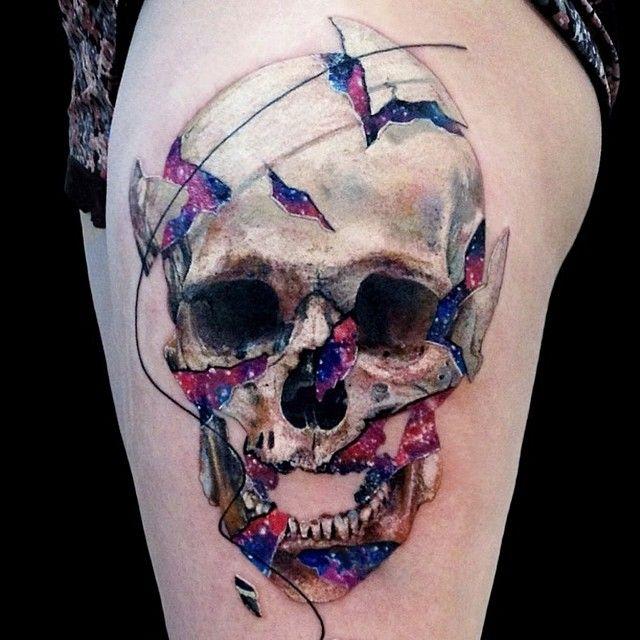 Awesome colorful skull tattoo by Vladislav Tokmenin