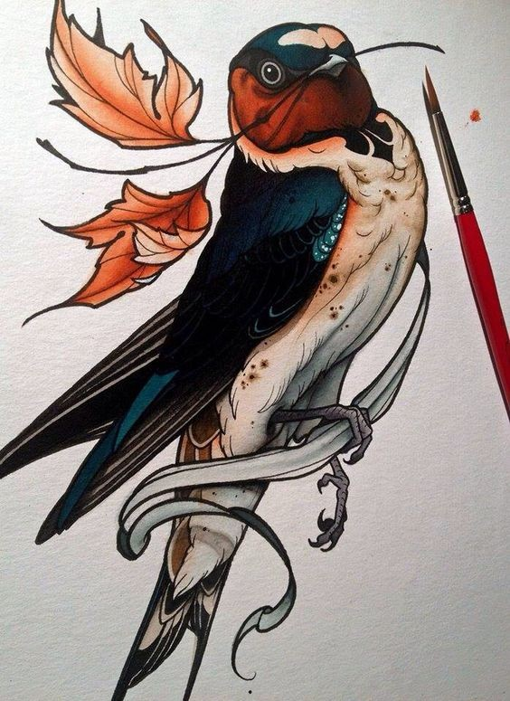 Awesome colorful sparrow with maple leaves in beak tattoo design