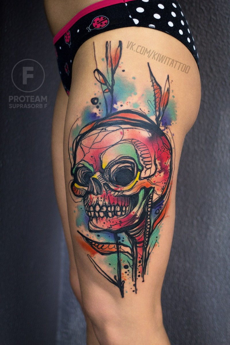 Awesome colorfull skull tattoo on hip