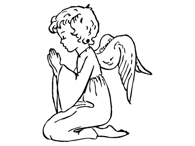 Awesome colorless child angel praying for his parents tattoo design