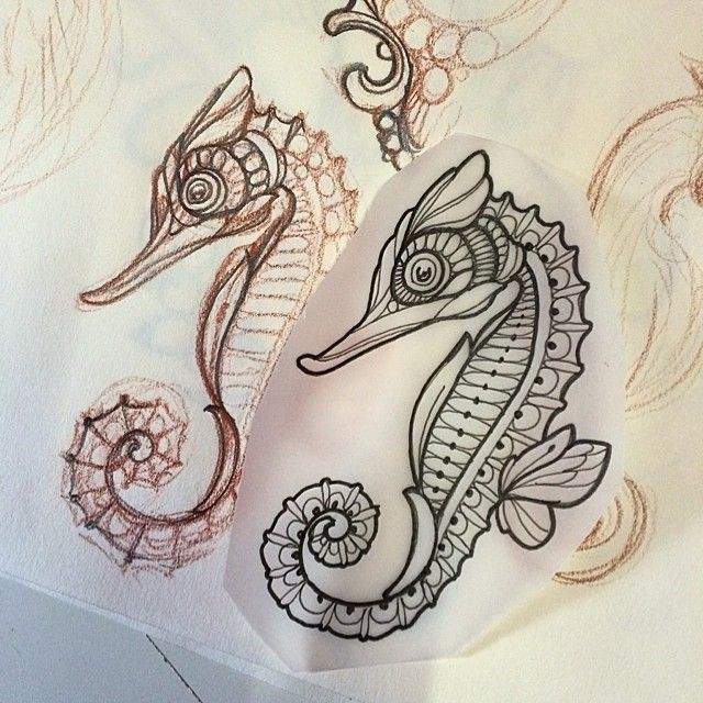Awesome colorless seahorse tattoo design