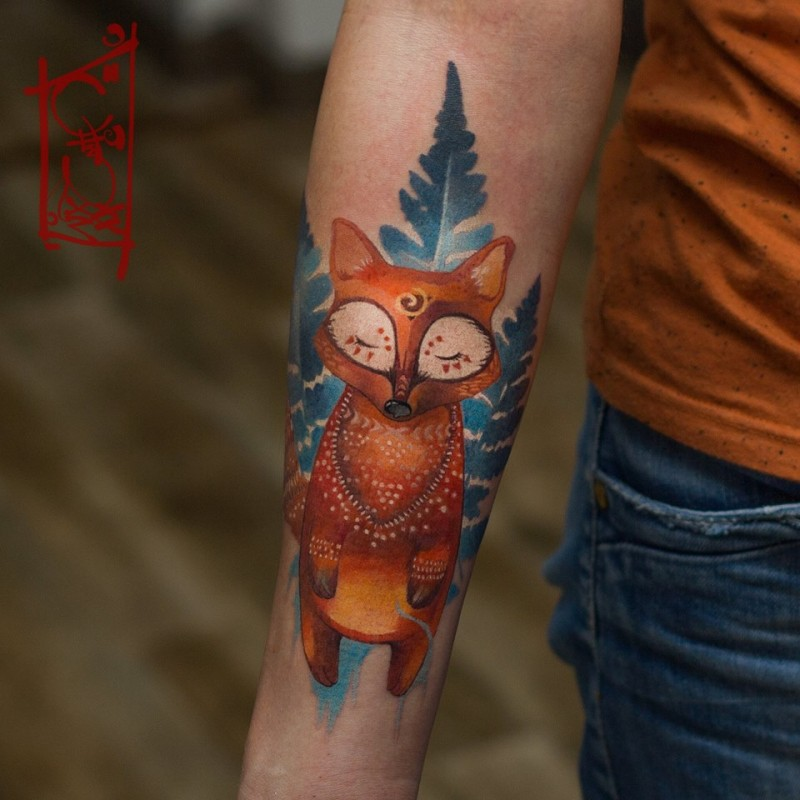 Awesome cortoon fox tattoo on forearm