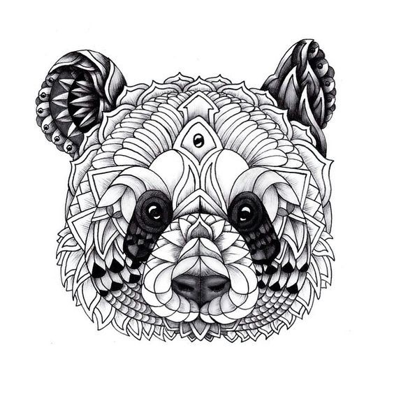 Awesome decorated panda head tattoo design