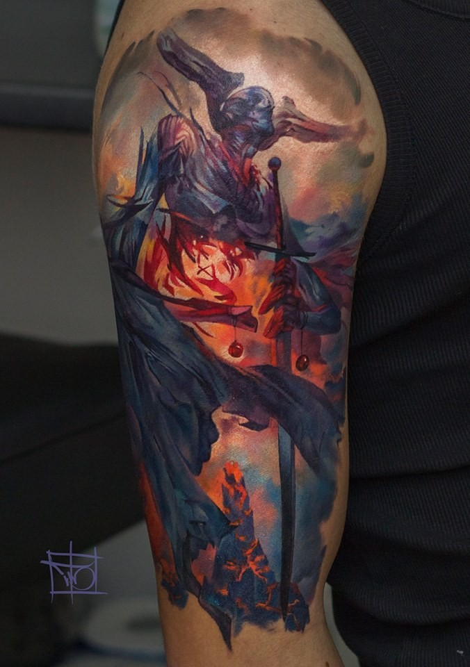 Awesome demon tattoo on shoulder