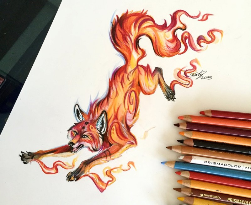Awesome fire fox tattoo design by Lucky978