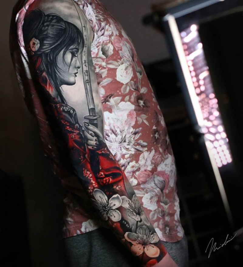 Awesome full sleeve tattoo with woman and flowers