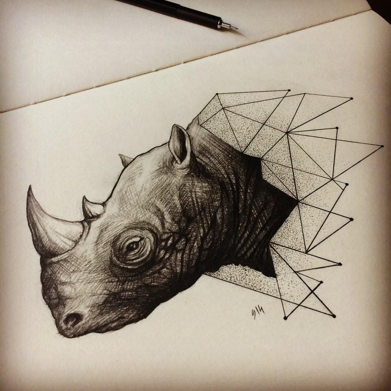 Awesome geometric-style rhino head by Movie Metal