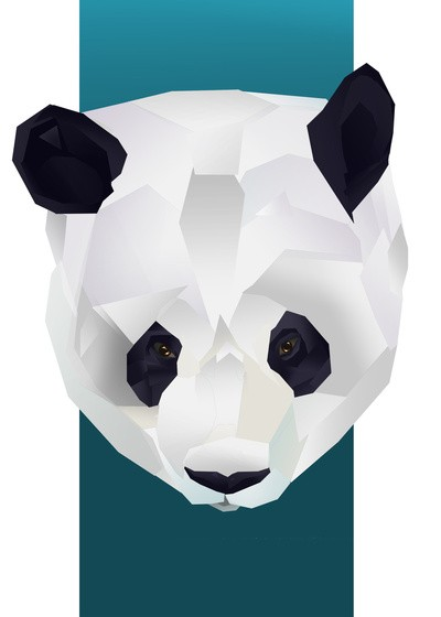 Awesome geometric 3D panda head tattoo design