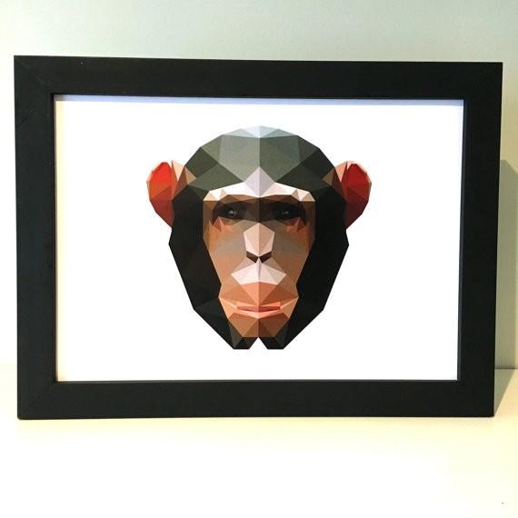 Awesome geometric chimpanzee head tattoo design
