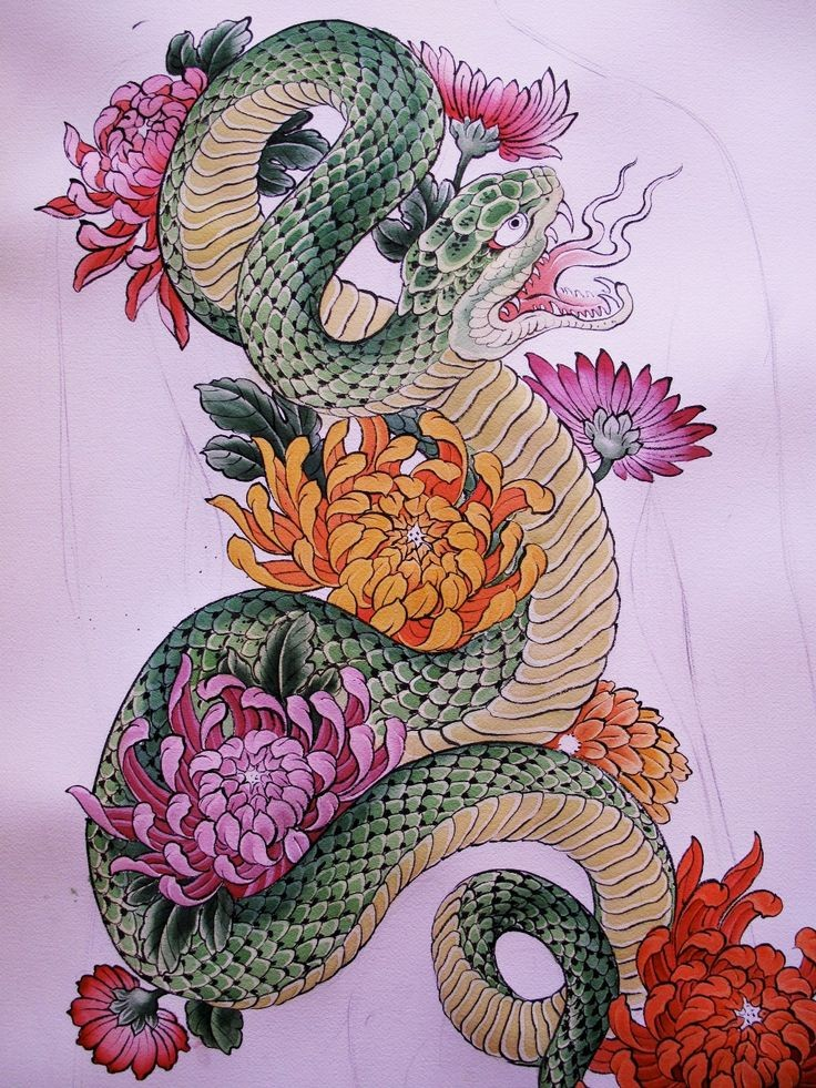 Awesome green snake with colorful peonies tattoo design