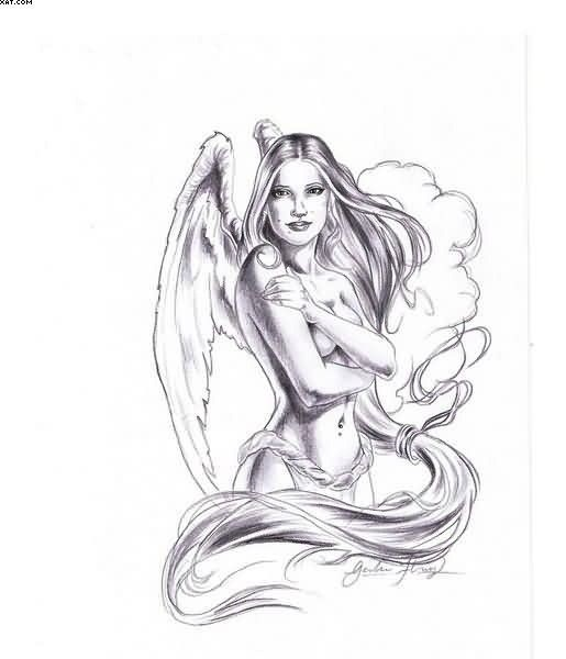 Awesome grey-ink angel woman with long hair tattoo design