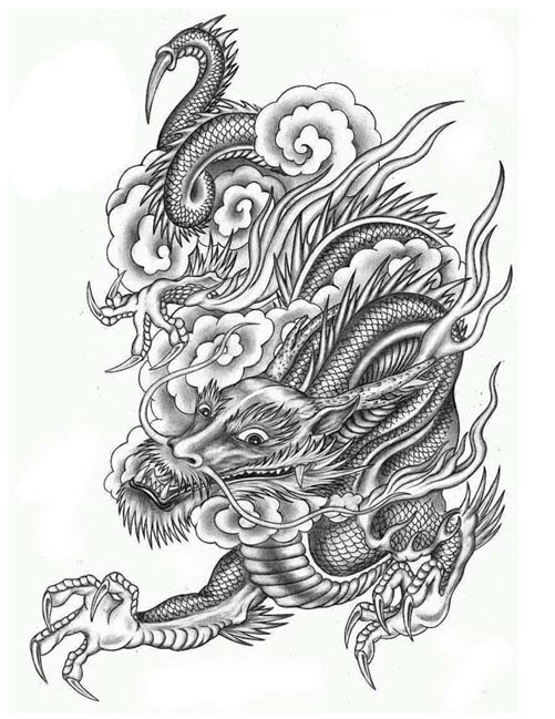 Awesome grey ink asian dragon in swirly clouds tattoo for Chinese clouds tattoos