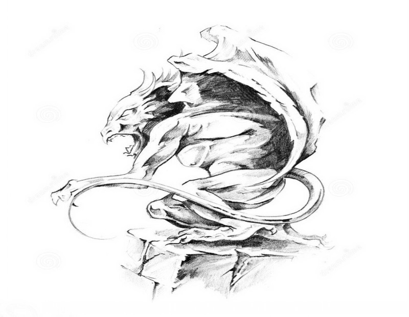 Awesome grey-ink crying gargoyle tattoo design