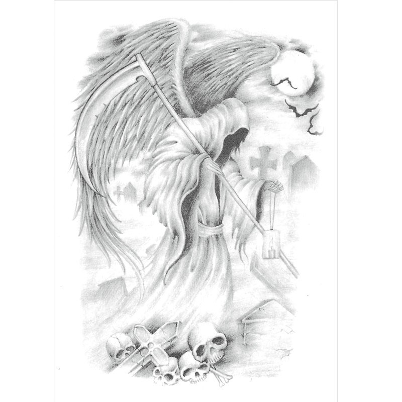 Awesome grey-ink death with luxury angel wings tattoo design