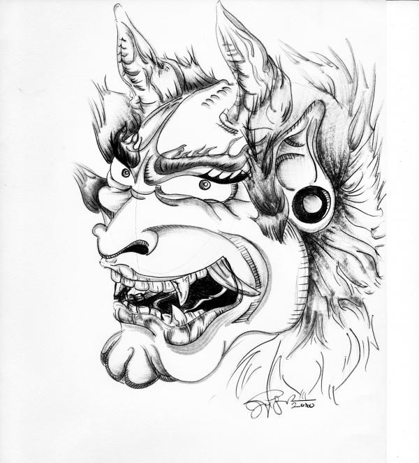 Awesome grey-ink demon head in profile tattoo design