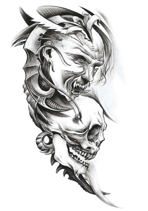 Awesome grey-ink demon with his skull tattoo design