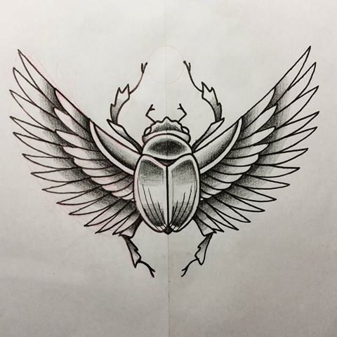 Awesome grey ink winged scarab bug tattoo design for Scarab tattoo designs