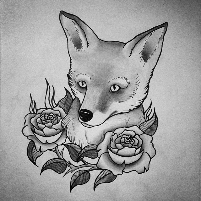 Awesome grey-pencil fox portrait with roses tattoo design