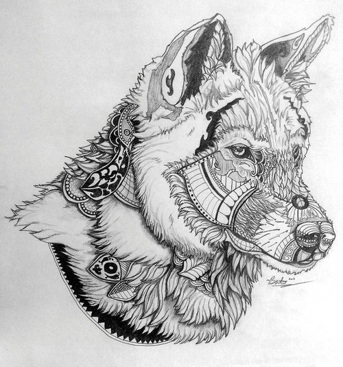 Awesome grey-pencil wolf with pattern elements tattoo design