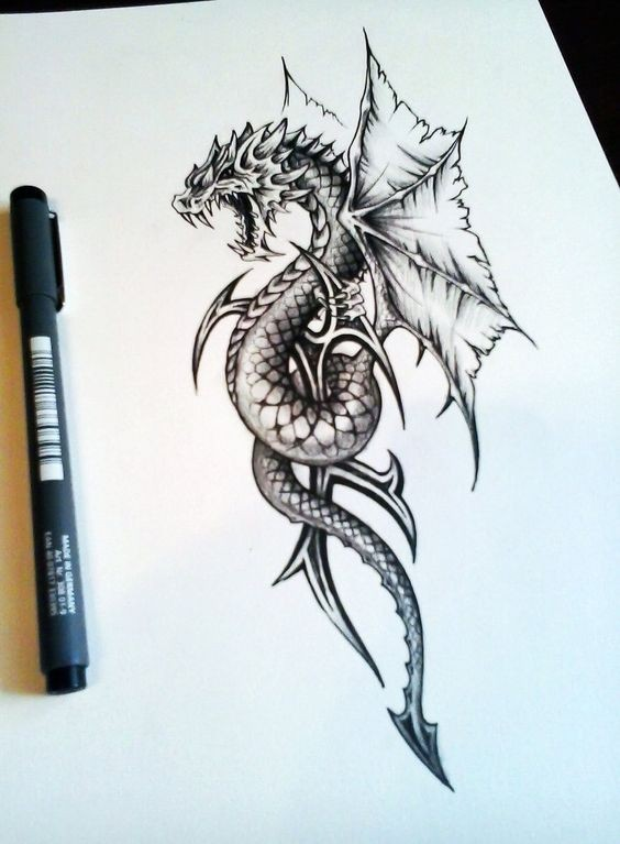 Awesome grey dragon embracing tribal element tattoo design