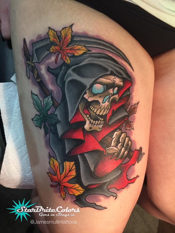Awesome grim reaper tattoo on thigh