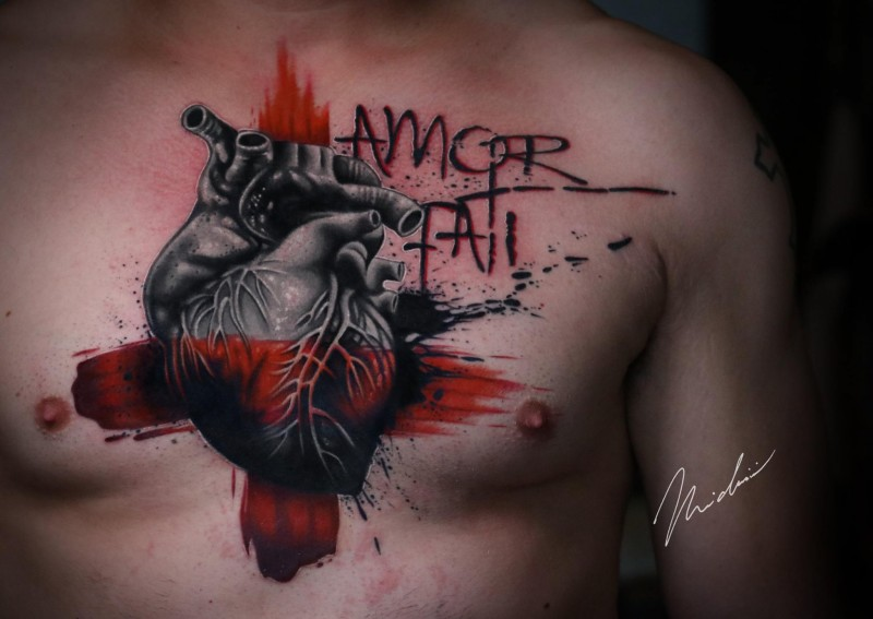 Awesome heart tattoo on chest