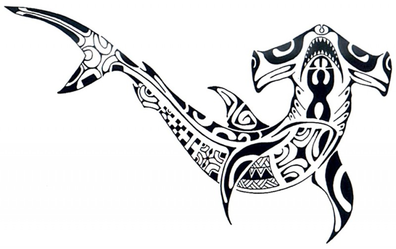 Awesome hummer shark with polynesian pattern tattoo design