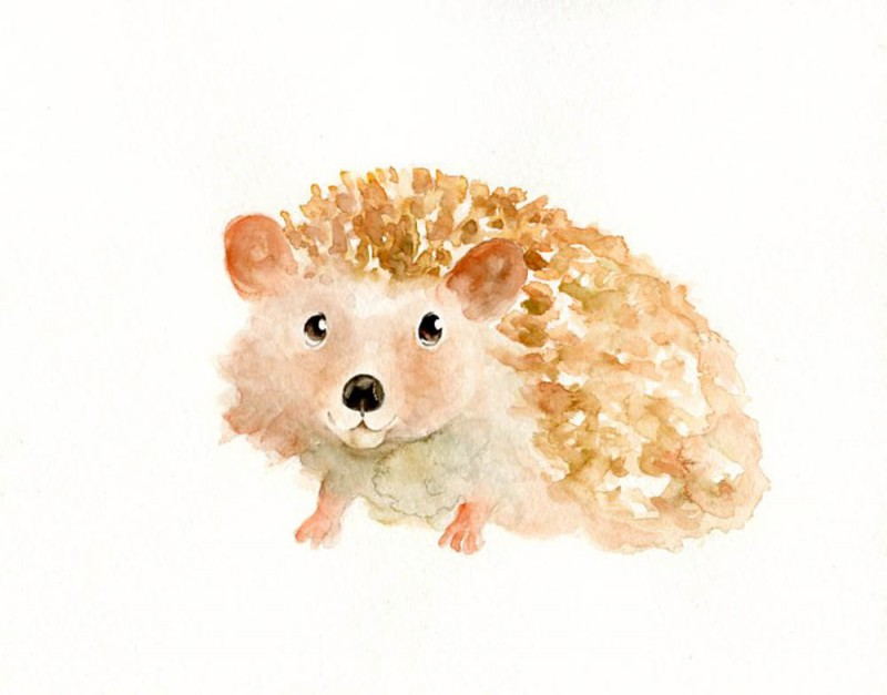 Awesome light brown watercolor hedgehog tattoo design