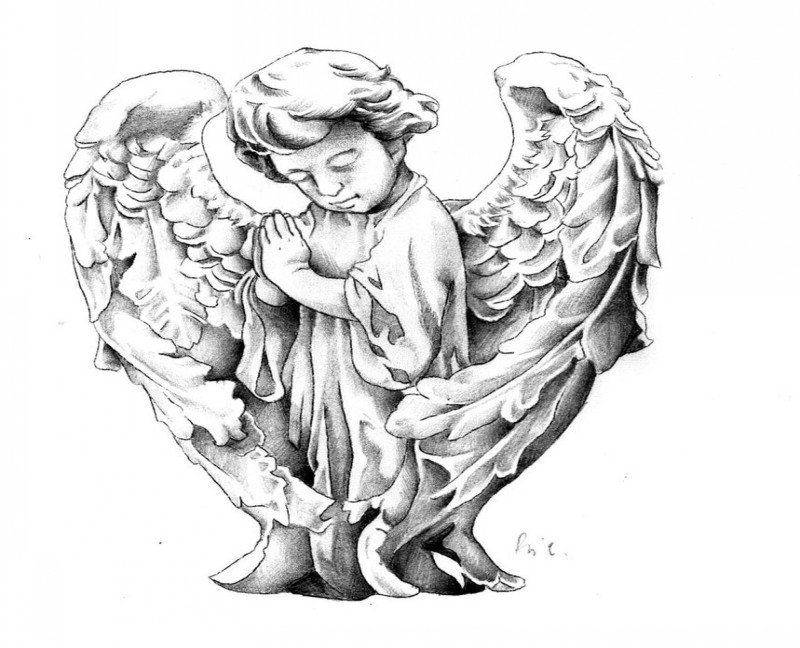 Awesome little grey-ink angel statue tattoo design by Riccardo Bacci