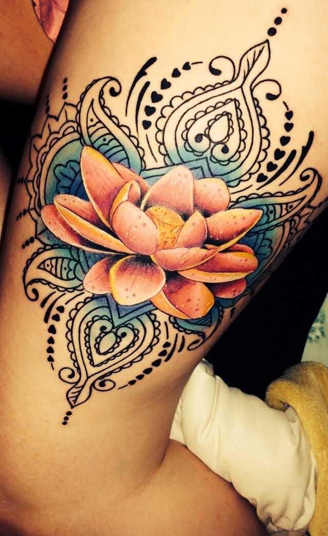 Awesome Lotus Flower Tattoo On Thigh Tattooimages Biz